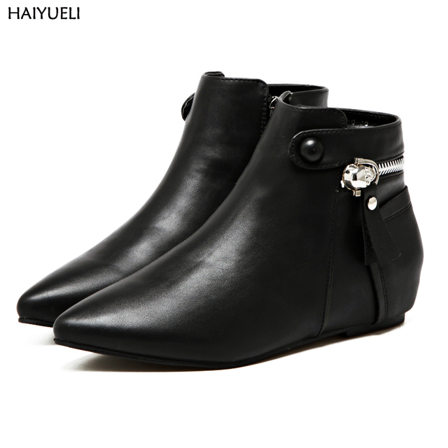 e24af199fdc80 ... Women Flat Boots Autumn Women Shoes Casual Pointed Toe Socks Ankle Boots  Black Pu Leather Las