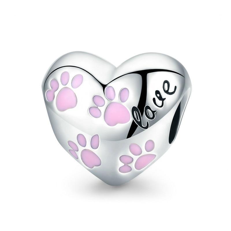 Trendy New 925 Sterling Silver Love Animal Dog Footprints in Heart Shape Beads Fit Pandora Bracelets DIY Jewelry SCC768 BAMOER