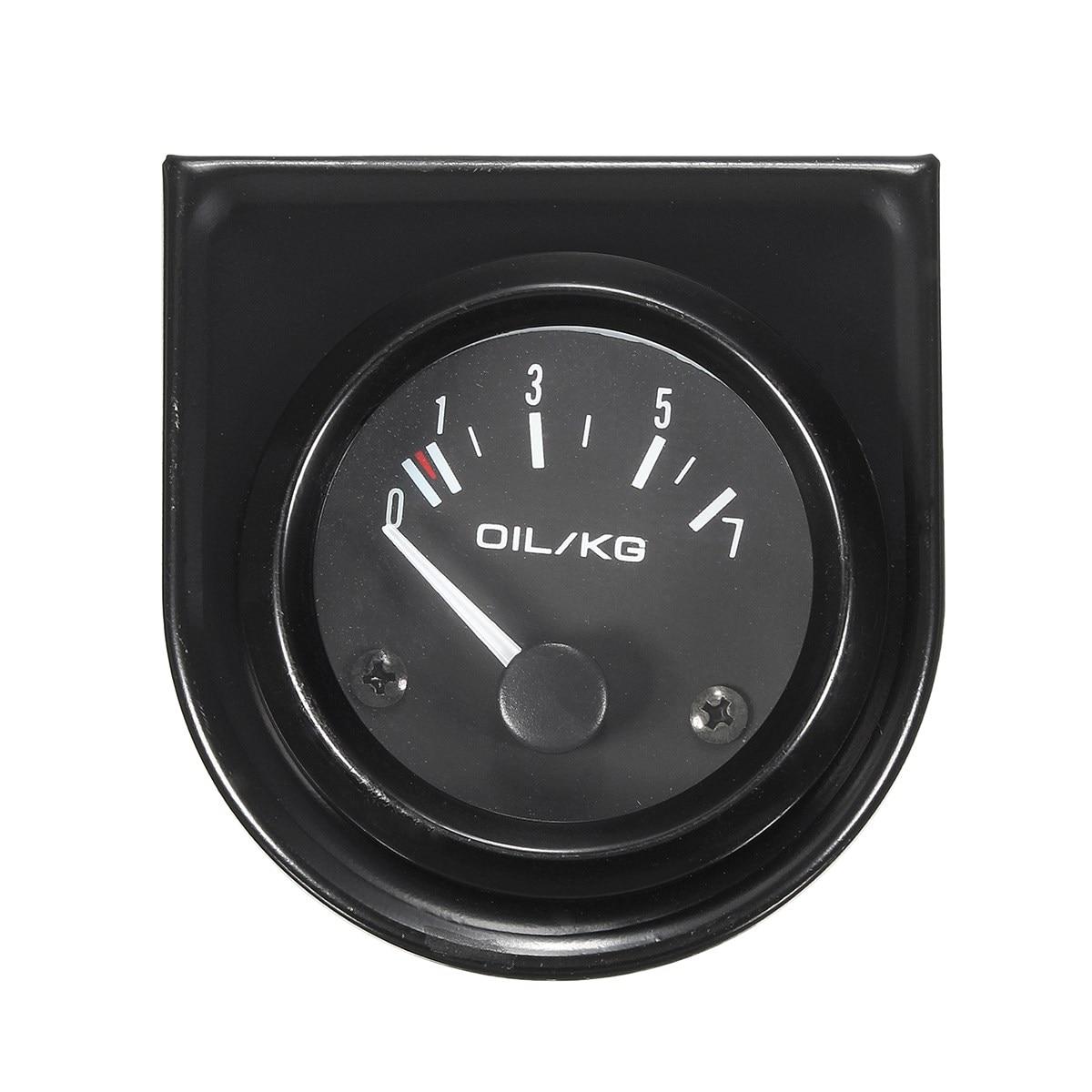 2 pulgadas 52mm coche Universal Negro diales manómetro de aceite 0-7 kg/cm luz LED blanco