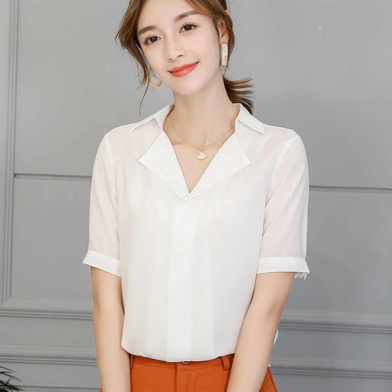 韓国レディースシフォンブラウスオフィスカジュアルなターンダウン襟スリム半袖シャツ女性 2019 ストリートブルーレッドトップ Blusas