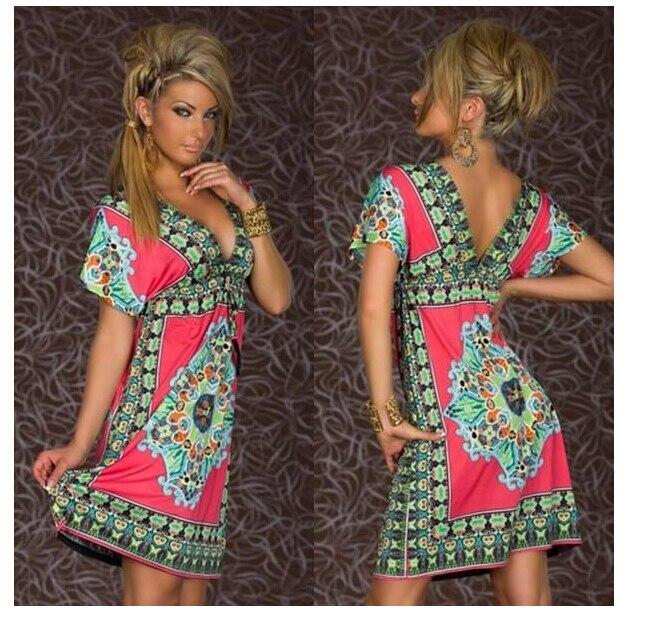TFGS Fashion Retro 1960s 1970s Vintage Paisley Print V Neck Hippie Bohemian Summer Dress Women Beach Dress