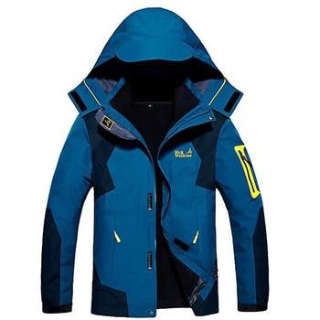 Plus Size 8XL Men's Winter Fleece 2 Pcs Jackets Outdoor Camping Climbing Skiing Fishing Hunting Waterproof Thermal Windbreaker