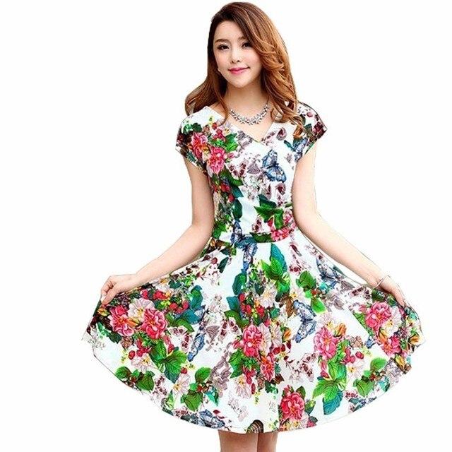 19bceb638a92536 Женское летнее повседневное платье с красочным принтом и V-образным вырезом  в