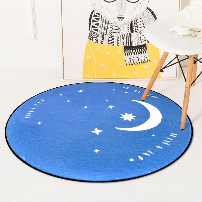 Nordic Creative Weather Display Moon Sun Round Tapete For Living Room Bedroom Home Decor Carpet Rug Children Kids Soft Play Mat