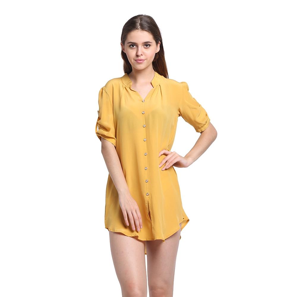 100% Silk Long Shirt Natural Silk Crepe De Chine New Women