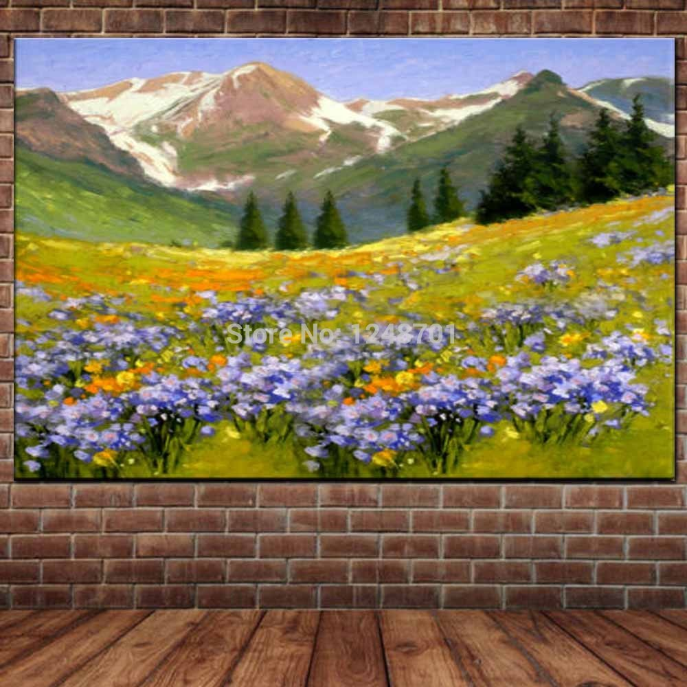 Hand Painted Abstract Impasto Flower Field Mountain Landscape Canvas Oil Painting Mountain Picture Living Room Home Wall Decor