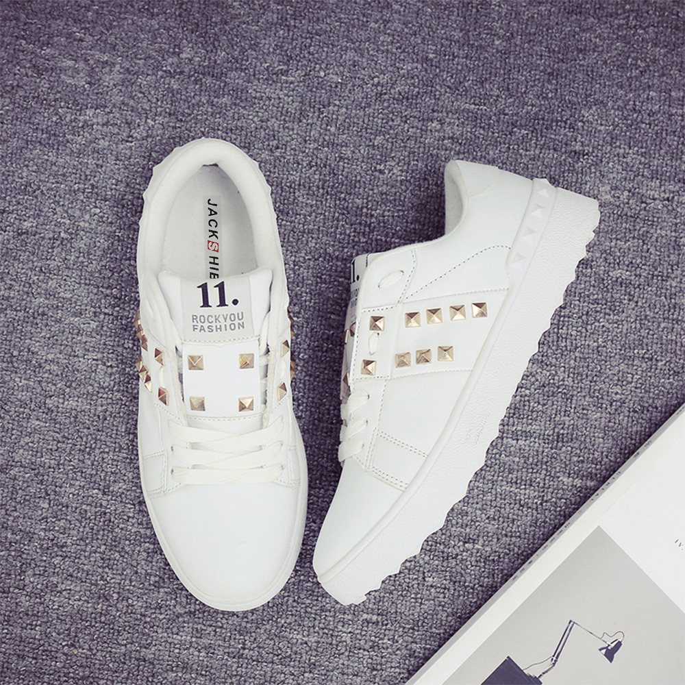 JACKSHIBO Womans Shoes Fashions 2018 Spring Design Women Shoes Rivet - Zapatos de mujer - foto 4