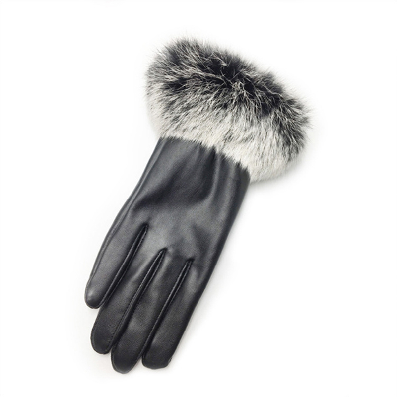 HTB19u1.mDnI8KJjSszbq6z4KFXaR - Naiveroo Touch Screen Gloves PU Leather Women Gloves Waterproof Faux Rabbit Fur Thick Warm Spring Winter Gloves Christmas Gifts