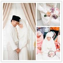 Muslim Islamic Hijab Wedding Dresses With Long Sleeve High neck Pearls Arab Kaftan Wedding Gowns abito da sposa rosa MSL42