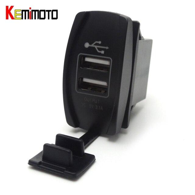 US $9 24 30% OFF KEMiMOT LED 12V&24V Dual USB Charger Car Charger UTV  Backlit Rocker Switch for Can Am for John Deer for Polaris RZR 900 800  1000-in