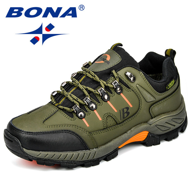 BONA New Arrival Classics Style Men Hiking Shoes Action Leather Men Athletic Shoes Outdoor Jogging Shoes Fast Free Shipping