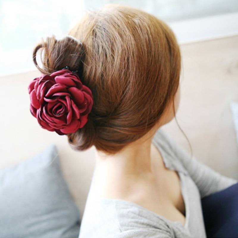 Mode Koreaanse Hoge Kwaliteit Meisjes Elegantie Haarspeldjes Grote Doek Bloemen Plastic Haar Klauwen Hoofdbanden Voor Vrouwen Haaraccessoires
