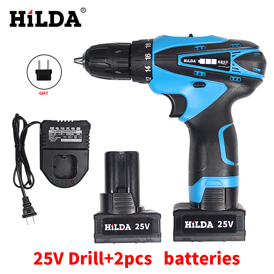 HILDA 25V Cordless Screwdriver Electric Drill Two-Speed Rechargeable Waterproof Drill LED Light with 2pcs Lithium Batteries
