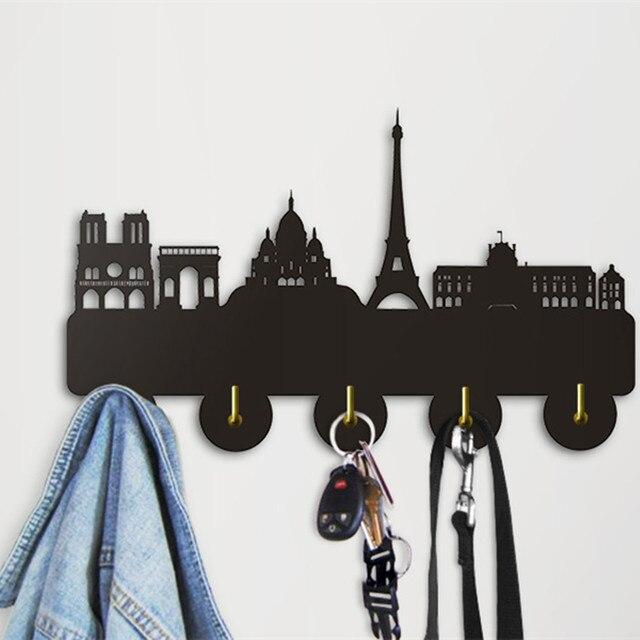 Beautiful 1 Piece Paris Skyline Coat Key Holder Wall Hanger Wood Wall Art Decor Unique  Gadgets For