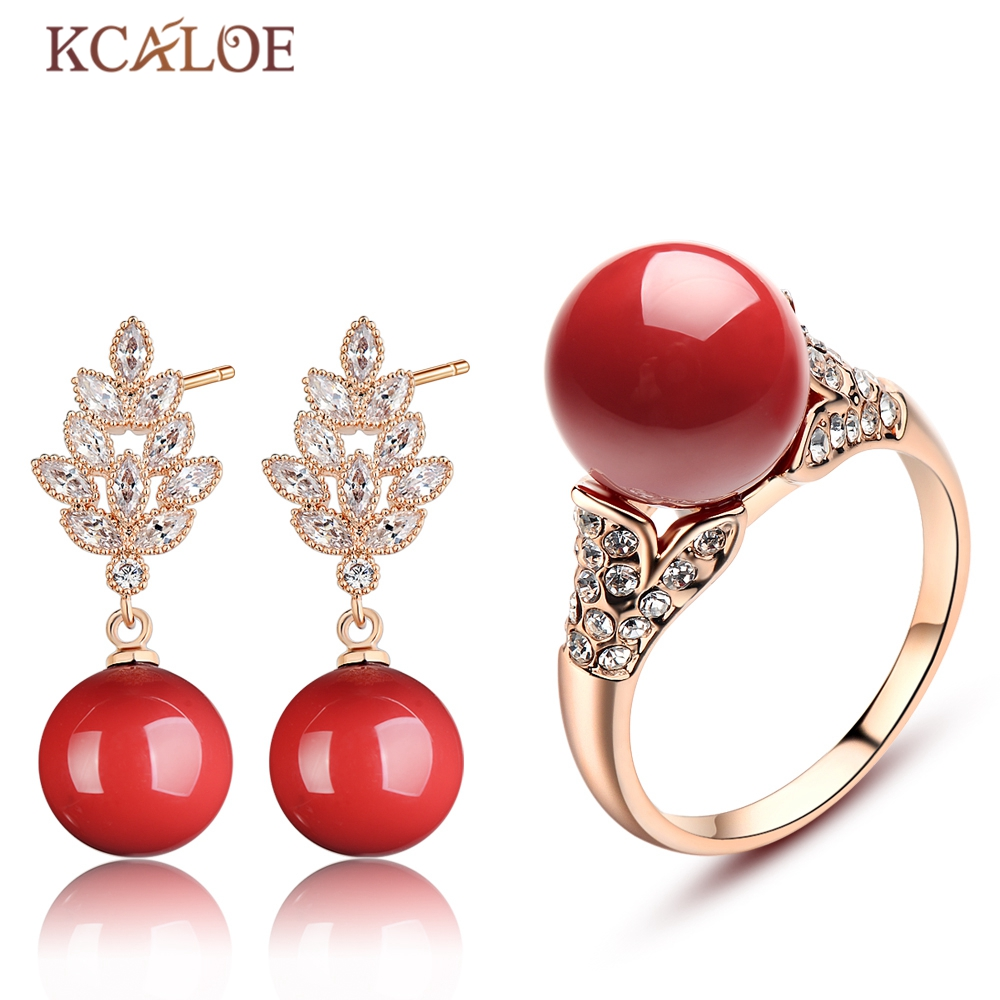 KCALOE Bridal Jewelry Sets Fine Cubic Zirconia Crystal Rose Gold Color Red Artificial Coral Wedding Engagement Jewellery Set