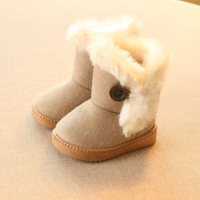 2016 Winter Children Boots Thick Warm Shoes Cotton-Padded Suede Buckle Boys Girls Boots Boys Snow Boots Kids Shoes EU 21-35