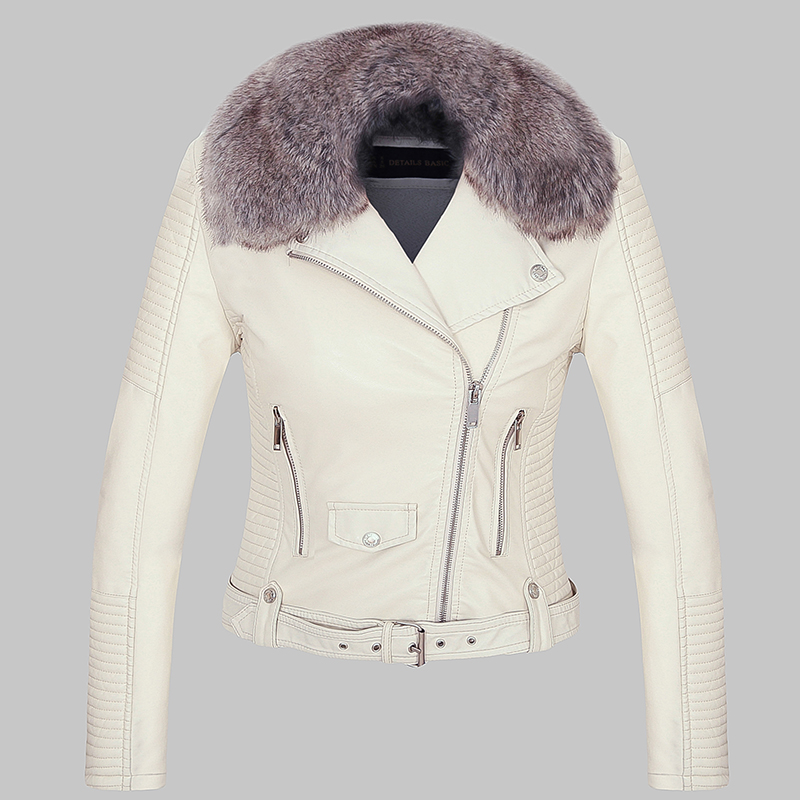 2018 Hot Women Winter Warm Faux Leather Jackets with Fur Collar Lady White Black Pink Motorcycle