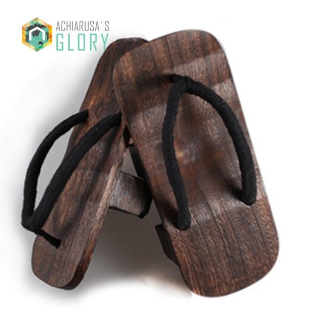 cf0c5949e42 2017 Summer unisex women sandals Japanese Gate Gentleman Bidentate Clogs  candlenut Geta Cosplay costumes flip flops-in Women s Sandals from Shoes