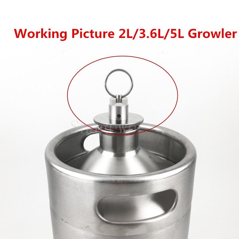304 Stainless Steel 2L3.6L5L Homebrew Mini Beer Growler Keg Lid With Pressure Relief Valve (3)