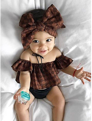 2017 New Cotton Newborn Baby Girl Off Shoulder Tops Headband Shorts Outfit Clothes Sets super baby lovely baby girl cotton suits tops shorts child suit clothes outfit set size 1 3y