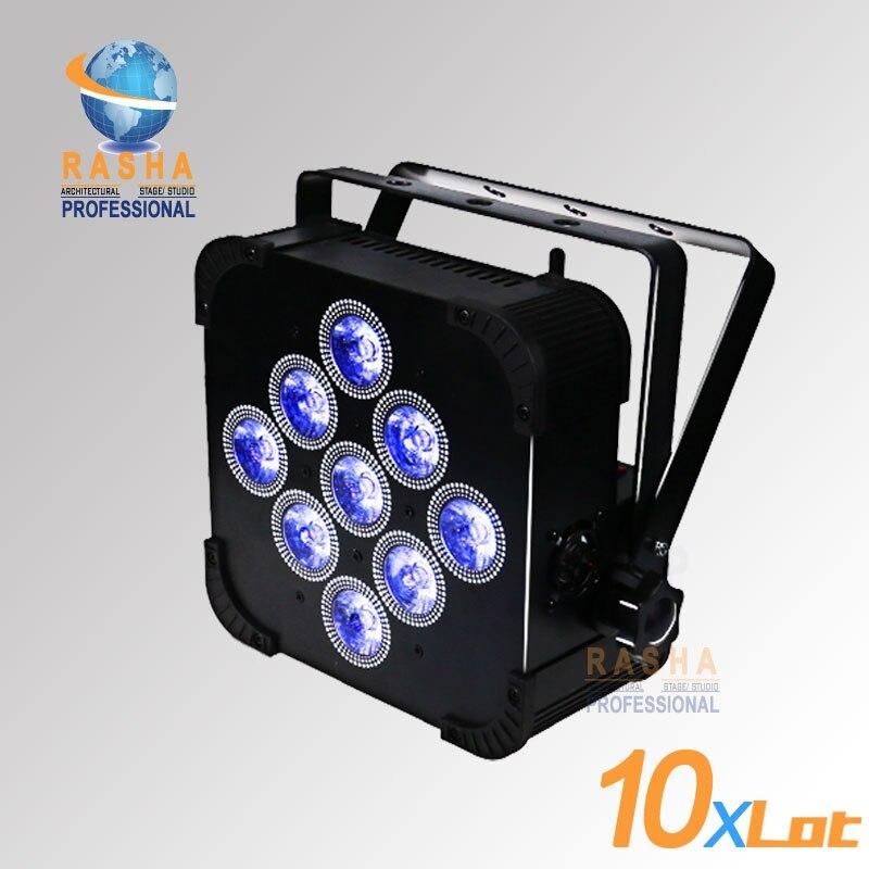10PCS LOT Rasha High Brightness 9pcs 18W 6IN1 RGBAW UV Battery Powered Wireless LED Flat Par