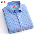 Langmeng 2016 New Summer Cotton Casual Men Thin Strip Dress Shirt Men Short Sleeve plaid casual Shirts Male Camisa Musculia