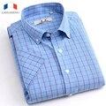 Langmeng 2016 Nuevo Algodón Ocasional de Los Hombres Del Verano Delgada Franja Camisa de Vestir Hombres Camisa a cuadros de Manga Corta Camisas casuales Masculinos Musculia