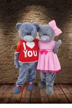 lovey T-shirt Teddy bear mascot costumes pink dressesTeddy bear tailsman doll costumes for Halloween Carival party event