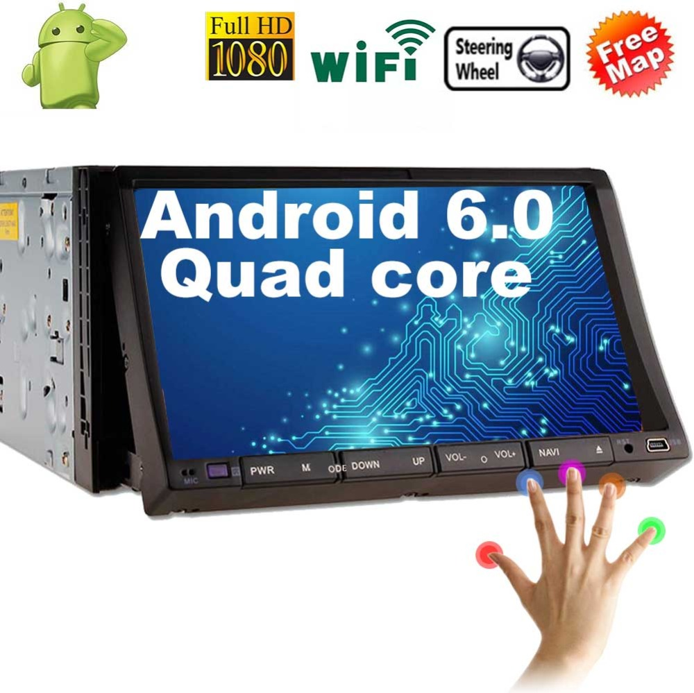 7 inch Android 6.0 Car Radio 2 Din Stereo in Dash Touchscreen Quad-Core GPS bluetooth Support Wifi/SD/USB/Apple Play Mirrorlink