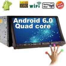 """7 """"inch Android 6,0 автомобилей Радио 2 Din стерео в тире сенсорный экран Quad-Core gps bluetooth Поддержка Wi-Fi /SD/USB/Apple играть Mirrorlink"""