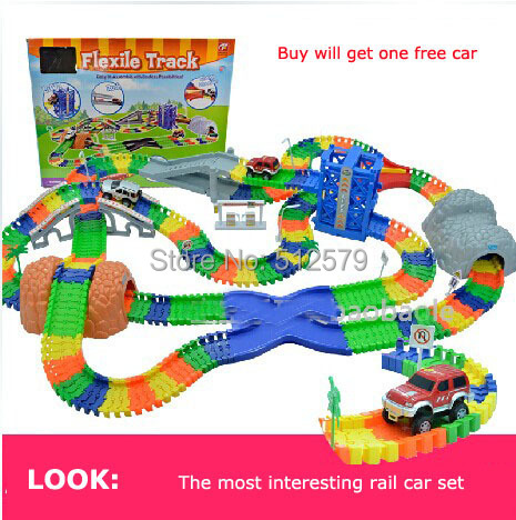 Kingtoy Diy Railroad Children Large Roller Coaster track Kid Electric Train Toy Car Parking lot Assemble Railway Toy