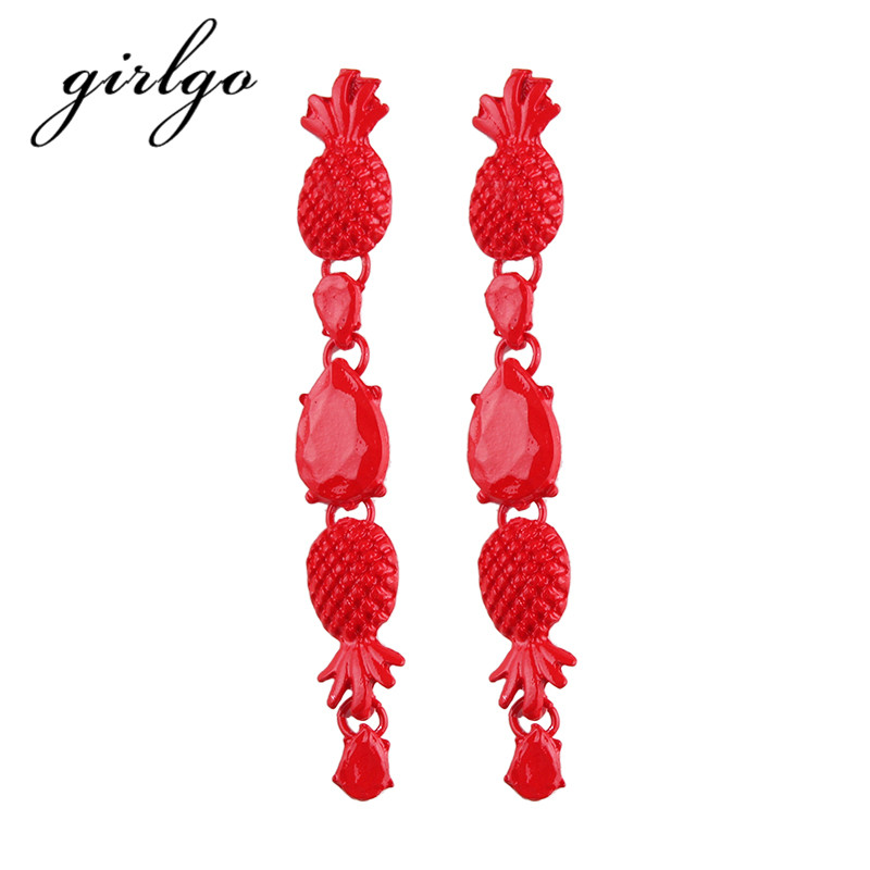 Girlgo Bohemia Long Multilayer Pendant Statement Earrings for Women Cheap Charm Pinky Color Drop Dangle Earrings Wedding Jewelry