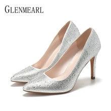 201b636b5 Mulheres Bombas de Salto Alto Sapatos Dedo Apontado Sapatos de Casamento  Strass Mulher Primavera Tira Sapatos de Festa Fêmea Mar.