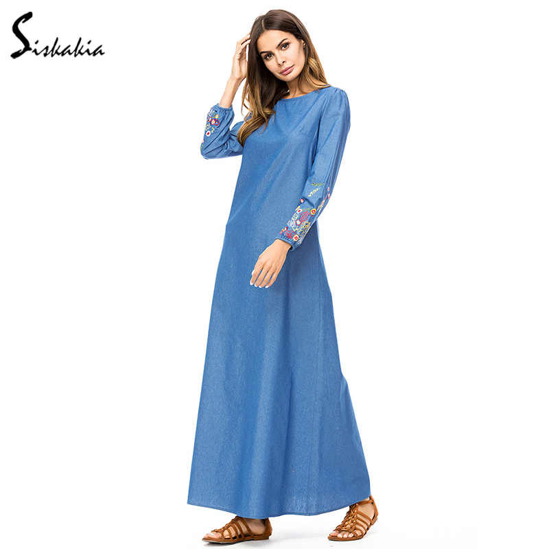 47a3f9dd79 Siskakia Women Long Dress Denim Floral Embroidery Maxi Dresses Urban Casual  Round Neck Long Sleeve Autumn