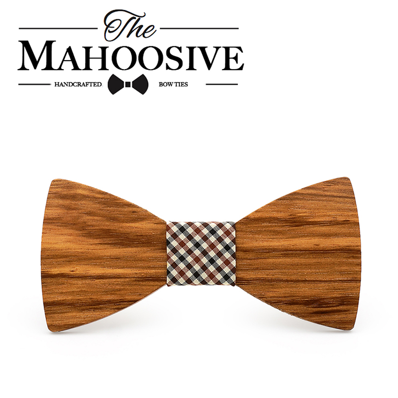 Mahoosive Wood Decoration Sharp Corners Bow Tie Butterfly Knot Men's Accessories Wedding Party Banquet Club Business Tie