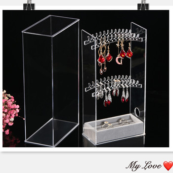New Acrylic Transparent Crystal Jewelry Plastic PS Showing Shelf Necklace Rack Box Earrings Hanger Nail Art Display Stand