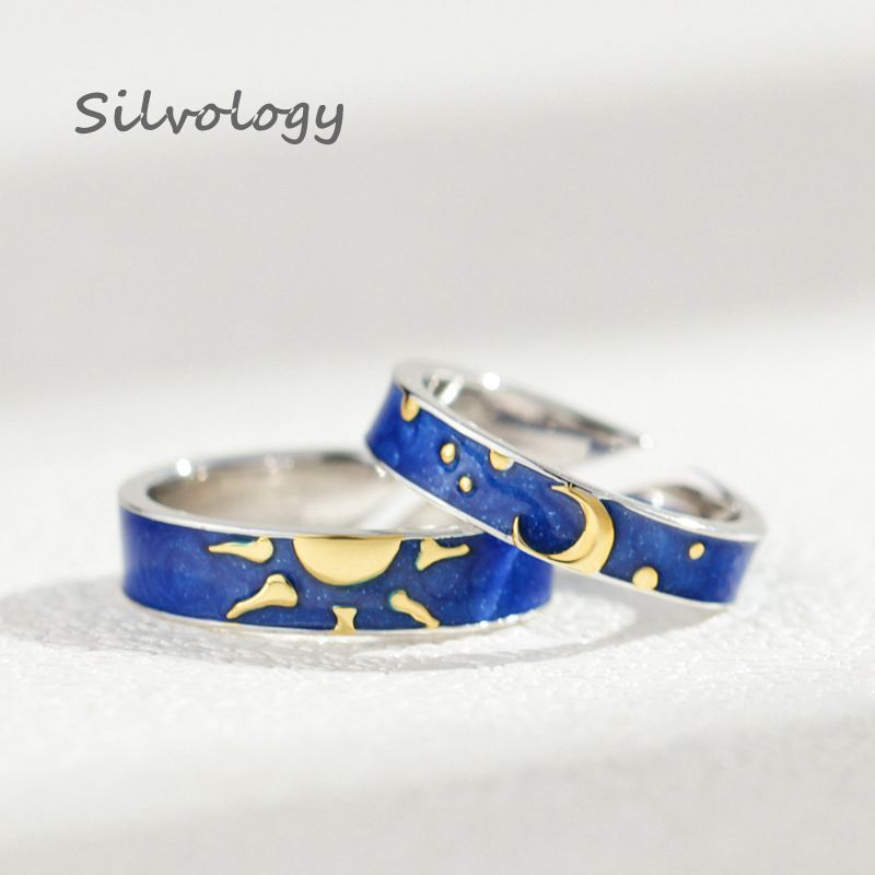 Silvology 925 Sterling Silver Authentic Enamel Star Moon Rings Blue Van Gogh Inventive Endlessly Open Rings Pageant Positive Jewellery Rings, Low cost Rings, Silvology 925 Sterling Silver Authentic Enamel...