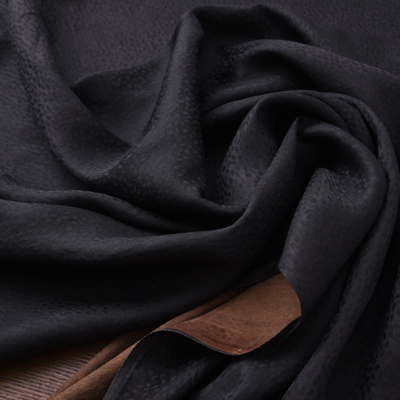 110CM Wide 25MM Dots Jacquard Black Brown Gambiered Guangdong Silk Fabric for Summer Dress Shirt Clothes