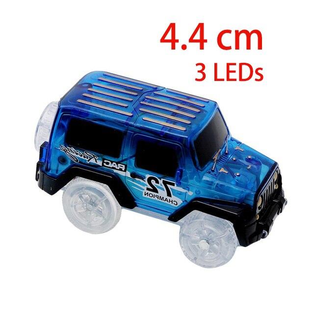 4,4-5,4 см волшебная Электроника светодиодный игрушечный автомобиль с мигающими огнями Развивающие игрушки для детей подарок на день рождения игра с треками - Цвет: 3 LED Lights