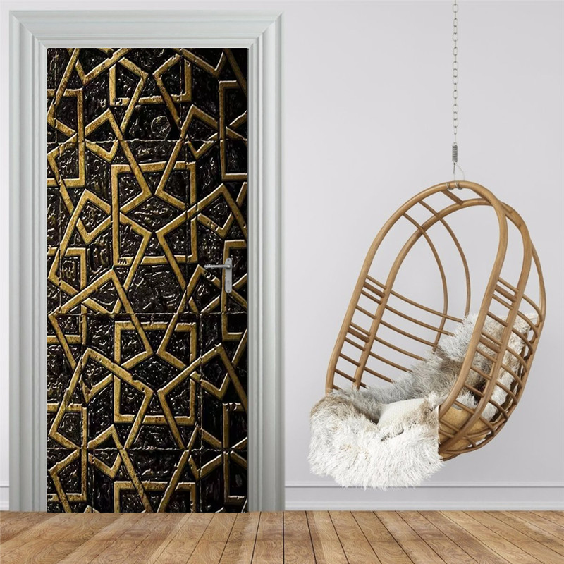 Modern Creative Black Gold Line Geometric Door Sticker 3D Stereo PVC Self-Adhesive Waterproof Mural Wallpaper Living Room Decor