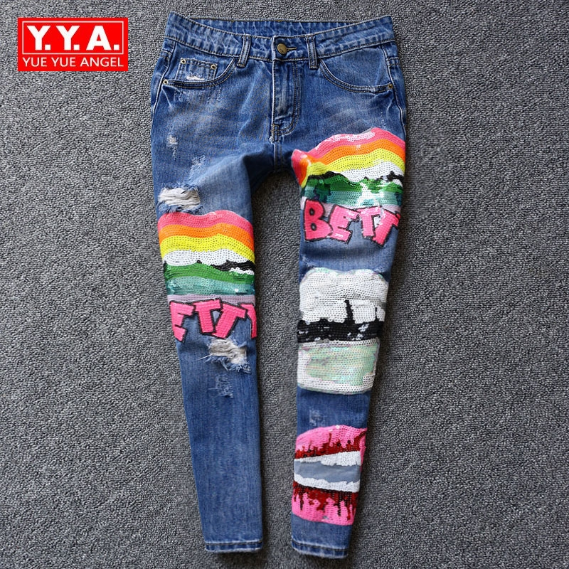 Women Cross Pants Cartoon Sequined Hole Ripped Washed Retro Female Trousers Winter New Fashion European Loose Fit Bf Style Jeans 2017 new women wide leg pants retro slim loose autumn winter female jeans plus size straight trousers fashion chic mk0069