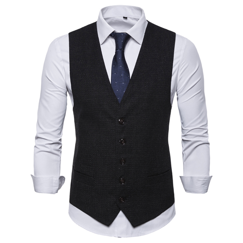 Business Vest Waistcoat Men European Size 2019 Spring Autumn Leisure V Collar Male Vest