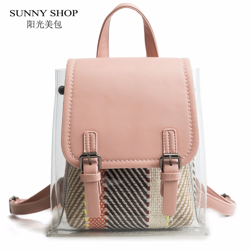 Detail Feedback Questions about SUNNY SHOP PVC Clear Backpack Set Women  With Straw Inner Bag Female 2018 Summer Beach Bagpack For Girls School Small  Kawaii ... 776bf568da