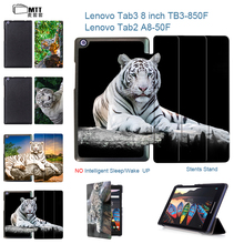 """MTT Print Tiger Skin cover for Lenovo tab 3 8.0 TB3-850F/850M 2016 new tablet case for lenovo tab3 8"""" Tab 2 A8-50F A8-50LC case"""