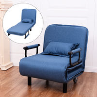 Giantex Convertible Sofa Bed Modern Folding Arm Chair Sleeper Leisure Recliner Living Room Lounge Couch Furniture HW54759BL