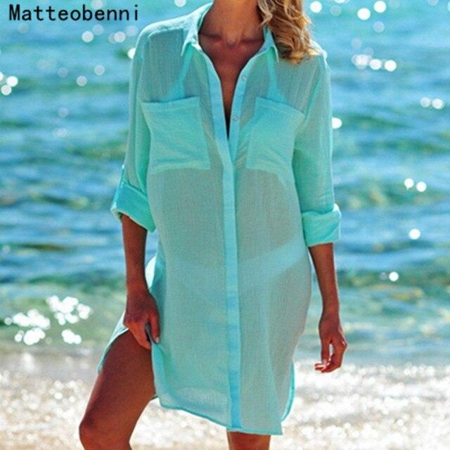 Для женщин Кафтан пляжное платье Cover Up Длинные рубашки парео саронги 2018 сексуальное бикини сплошной Cover-Up Туника купальник Robe De plage белый
