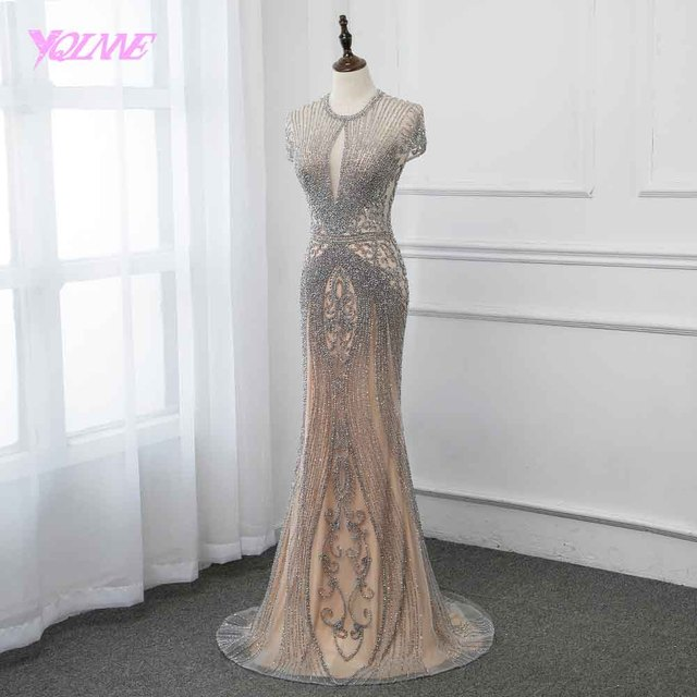New Collection 2019 Glitter Silver Rhinestones Long Evening Dresses Elegant Nude Tulle Pageant Dress Women Gown Vestidos YQLNNE 3