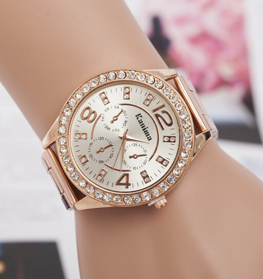 Moda para mujer subió reloj de plata dorado con el Rhinestone mujer relojes  de acero inoxidable 1ce3cd1eefec