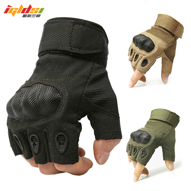 Men's Half Finger Gloves Army Military Tactical Gloves Women Motocycel Bicycle Mittens Black Leather SWAT Gloves M-XL