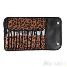 12 PCS Pro Makeup Brush Set Cosmetic Tool Leopard Bag Beauty Brushes 1L2J 2SKY